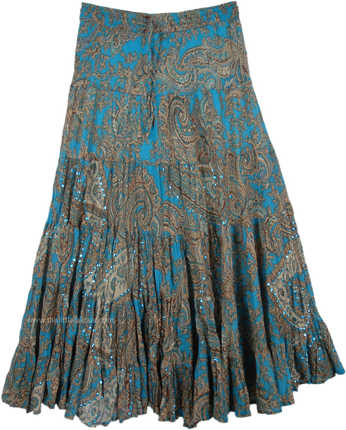 Ethnic Sequin Skirt in Blue with Paisley Print, Blue Skirt with Sequin Embellishments