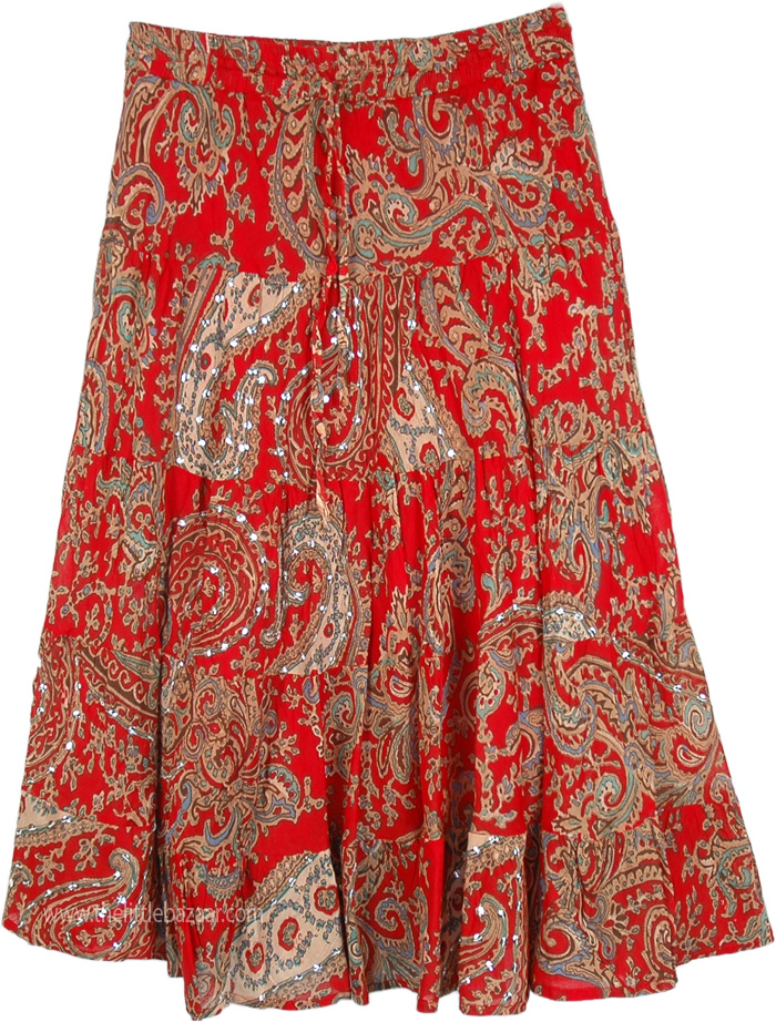 Rich Red Ethnic Party Skirt, Party Red Beige Paisley Cotton Midi Skirt