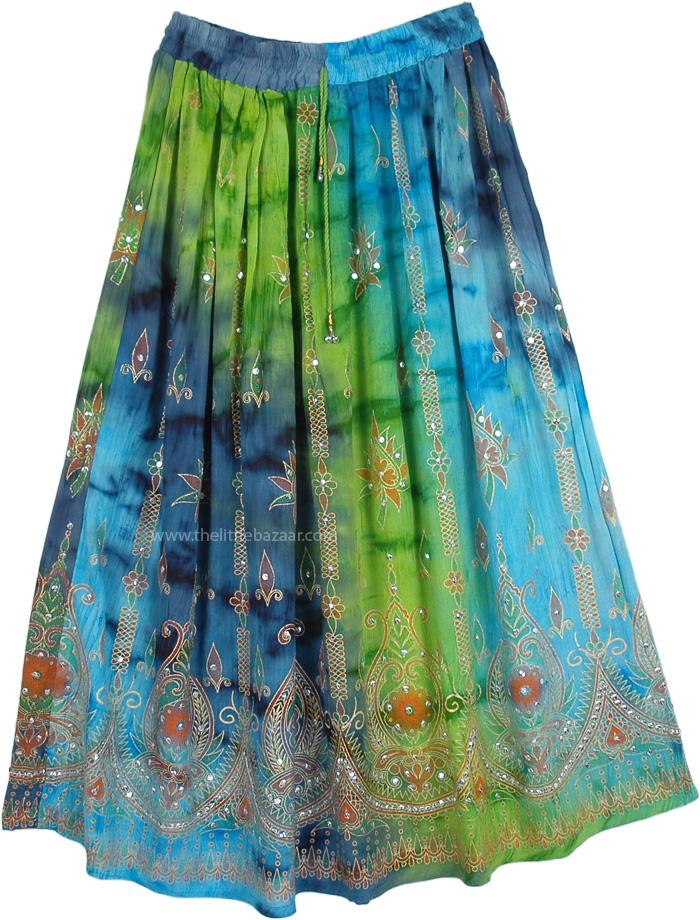 Sequin Wedding Skirt Indian Ethnic Festive Skirt, The Isabella Island Shaded Sequin Skirt