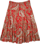 Festive Red Plus Size Bohemian Tiered Cotton Skirt with Sequins