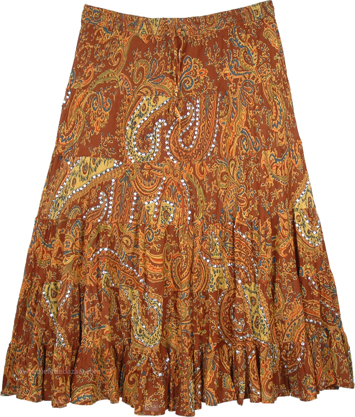 718975069a Indian Brown Festive Skirt with Sequin Work and Paisley Print in Brown,  Plus Size Copper