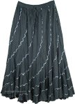 Dark Green Spiral Cut Silver Sequin Holiday Long Cotton Skirt