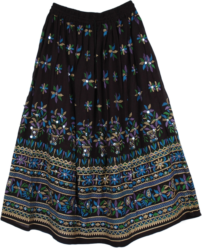 Peacock Ruby Sequined Black Long Skirt | Sequin-Skirts | Black ...