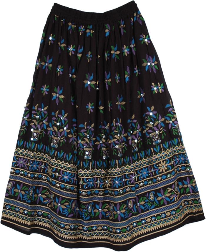 Peacock Ruby Sequined Black Long Skirt | Sequin-Skirts | Black ...
