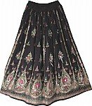 Hippie Pink and Black Long Skirt with Sequins