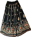 Belly Dance Orange Black Sequin Long Skirt