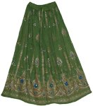 Green Chalet Sequin Long Skirt
