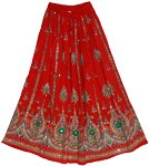 Thunderbird Red Sequin Long Skirt