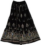 Black Pearl Sequin Long Skirt