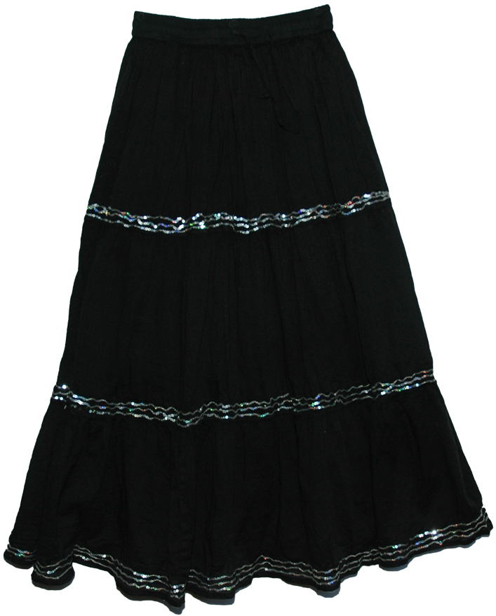 Valentino Sequins Gypsy Cotton Long Black Skirt