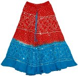Dark Pink Blue Bohemian Sequin Skirt
