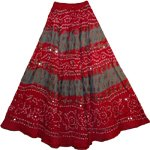 Venetian Red Bohemian Sequin Long Skirt