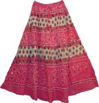 Hibiscus Bohemian Sequin Long Skirt