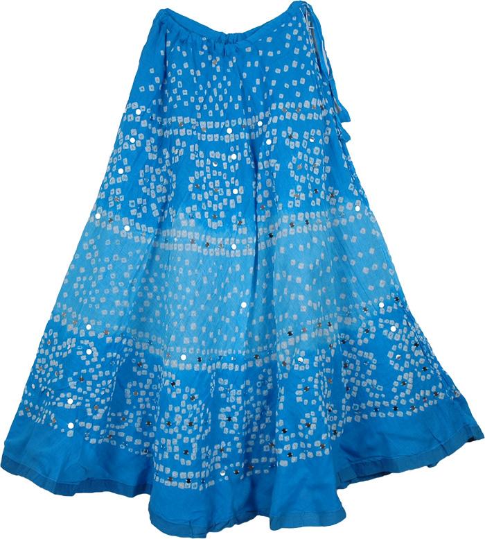 Cotton Tie Dye Long Skirt in Refreshing Blue Magic | Sequin-Skirts ...