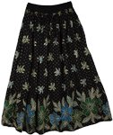 Floral Coral Sequin Black Long Skirt
