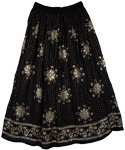 Gold Jingles Black Long Sequin Skirt