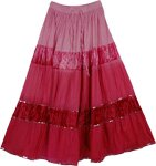 Vintage Velvet Classic Long Skirt in Pink