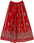 Passion Red Sequin Long Skirt