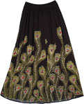 Peacock Serene Sequined Black Long Skirt