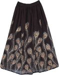 Peacock Ruby Sequined Black Long Skirt