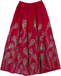 Dark Pink Peacock Sequined Long Skirt