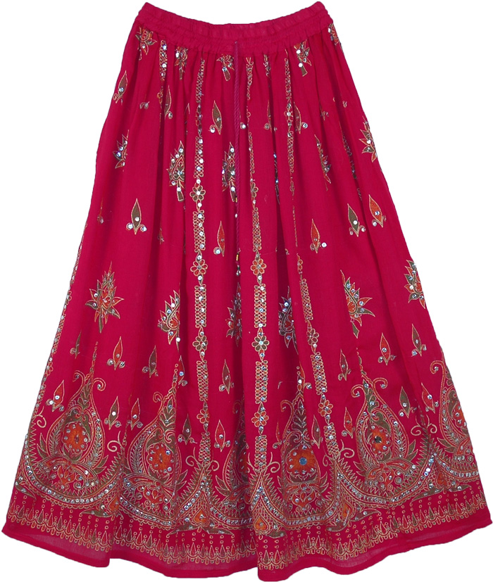 Hot Pink Long Skirt | Sequin-Skirts