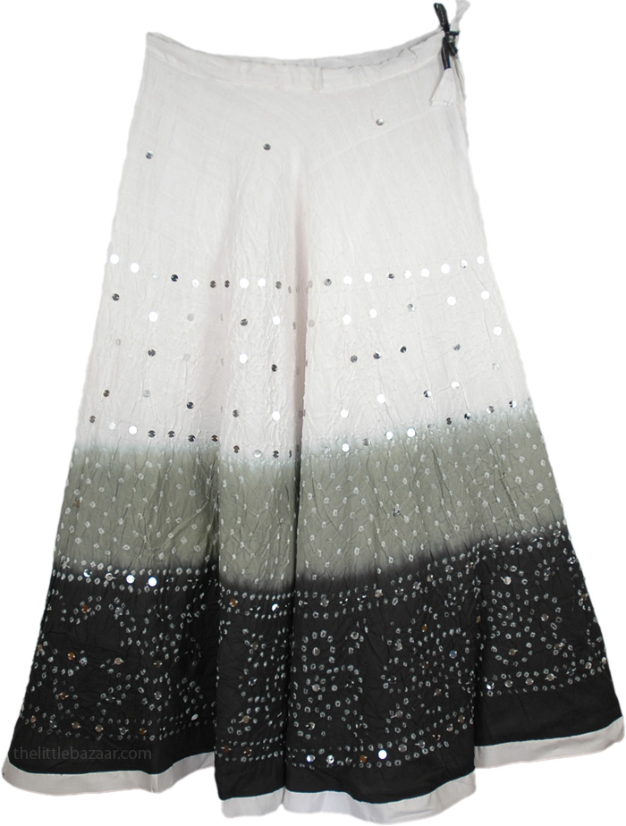 White Gray Black Sequin Skirt