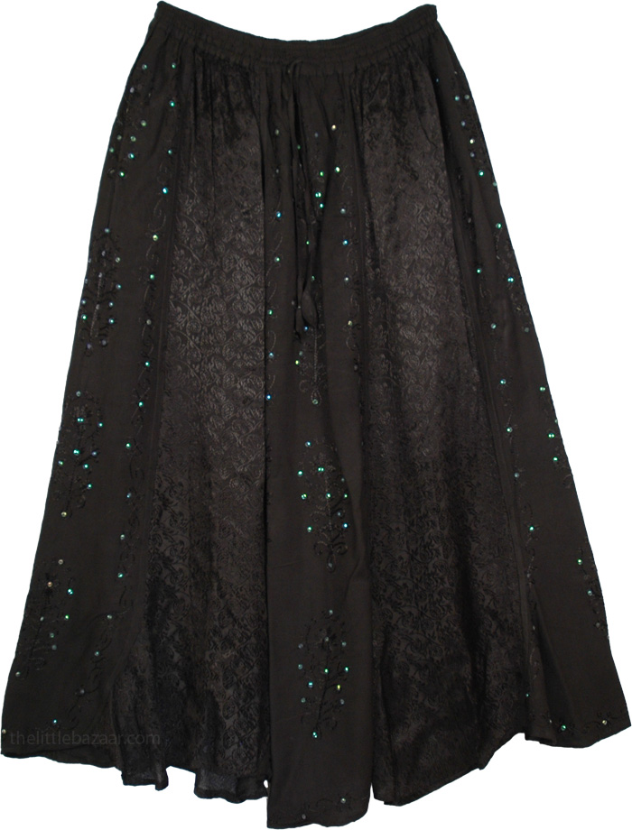 Sequins and Embroidery Black Tarot Long Skirt