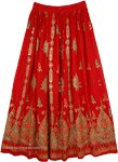 Passion Red Sequin Long Skirt with Elastic Waist