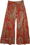 Sequin Paisley Print Cotton Palazzo Pants