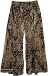 Party Palazzo Pants Paisley Print Cotton with Sequins
