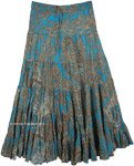 Tiered Blue Long Skirt with Silver Sequin Embellishments