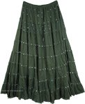 Lunar Green Sequin Tiered Long Cotton Skirt