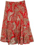 Party Red Beige Paisley Cotton Midi Skirt