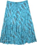 Cotton Tiered Plus Size Sequin Skirt Bright Blue with Paisley Print