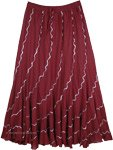 Spiral Cut Red Wine Silver Sequin Cotton Long Skirt Summer