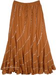 Spiral Cut Long Cotton Skirt Copper Tone with Silver Sequins