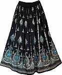 Plus Size Black Sequin Long Skirt Street Wear with Blue