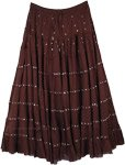 Hickory Brown Sequin Tiered Long Skirt in Cotton