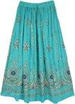 Aqua Green Festive Skirt with Motifs and Sequins