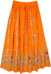 Tangerine Festive Orange Skirt with Floral Motifs and Sequins
