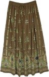 Henna Green Sequined Festive Skirt with Floral Motifs