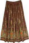 Choco Brown Festival Skirt with Floral Motifs and Sequins