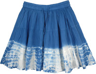 Beach Water Blue Flared Short Skirt with White Tie and Dye