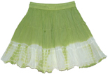 Green Smoke Crinkled Summer Short Skirt