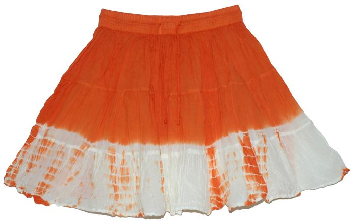 Orange Ice Summer Short Skirt, Orange Flame Crinkled Summer Coverup Skirt
