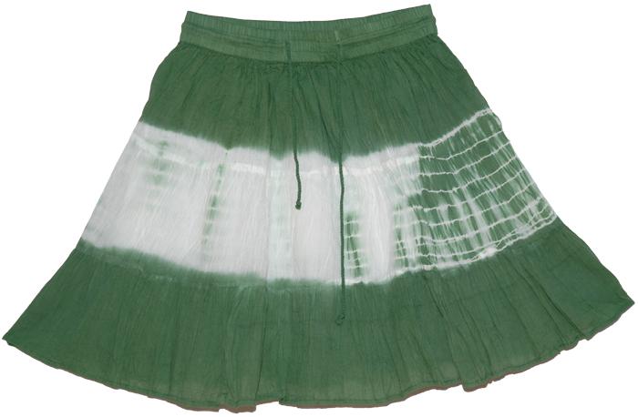 Dark Green Short Skirt, Axolotl Green Summer Short Skirt