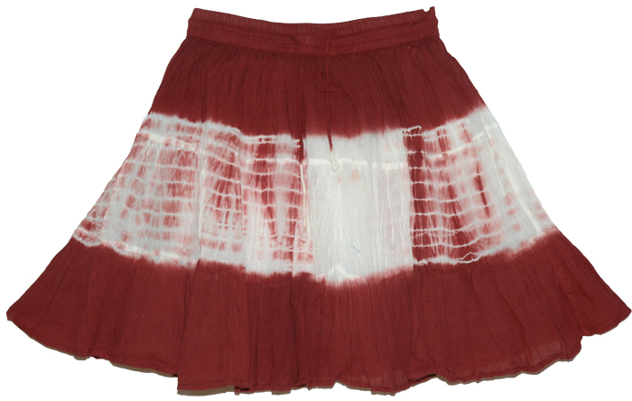 Dark Red Short Skirt, Firebrick Summer Short Skirt