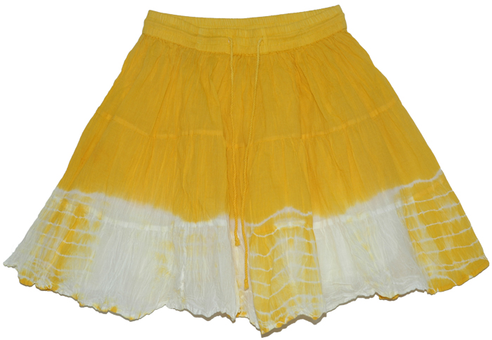 Hokey Pokey Summer Skirt, Golden Grass Summer Crinkled Short Skirt