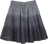Ombre Black Mini Beach Skirt with Silver Tinsel